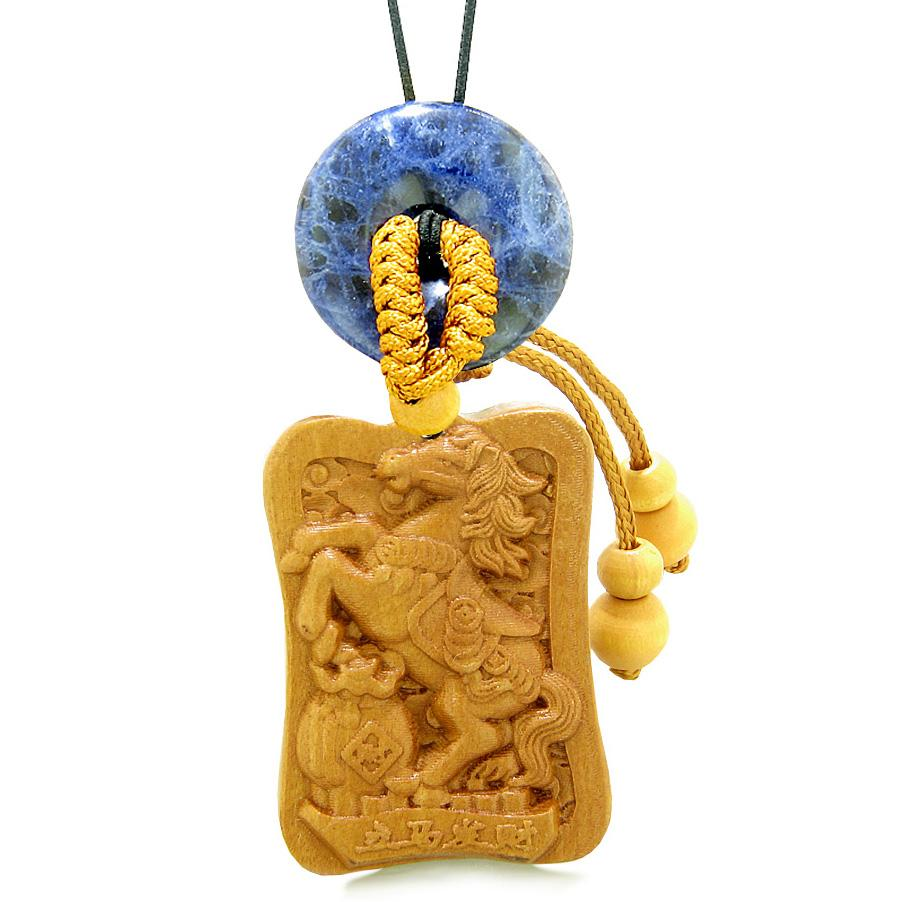 Fortune Horse Money Bag Lucky Coin Car Charm or Home Decor Sodalite Donut Protection Powers Amulet