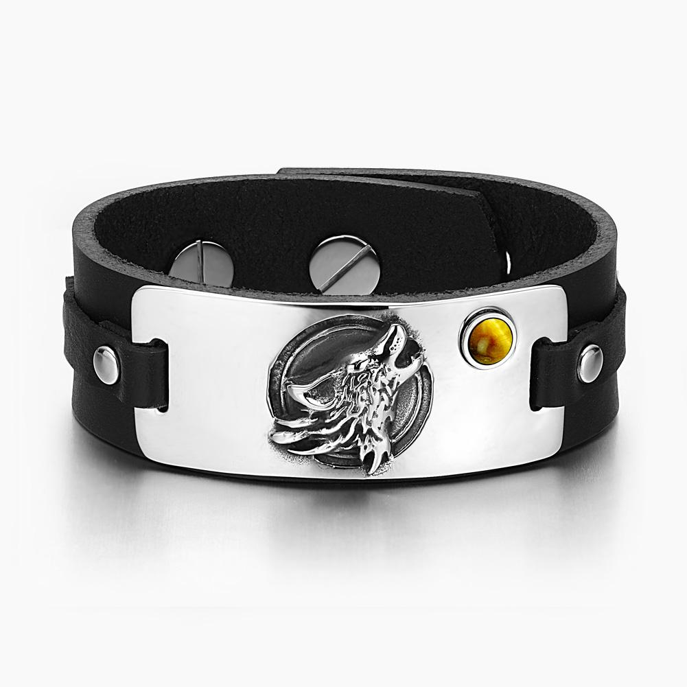 Howling Wolf Wild Moon Courage Amulet Tag Tiger Eye Gemstone Adjustable Black Leather Bracelet