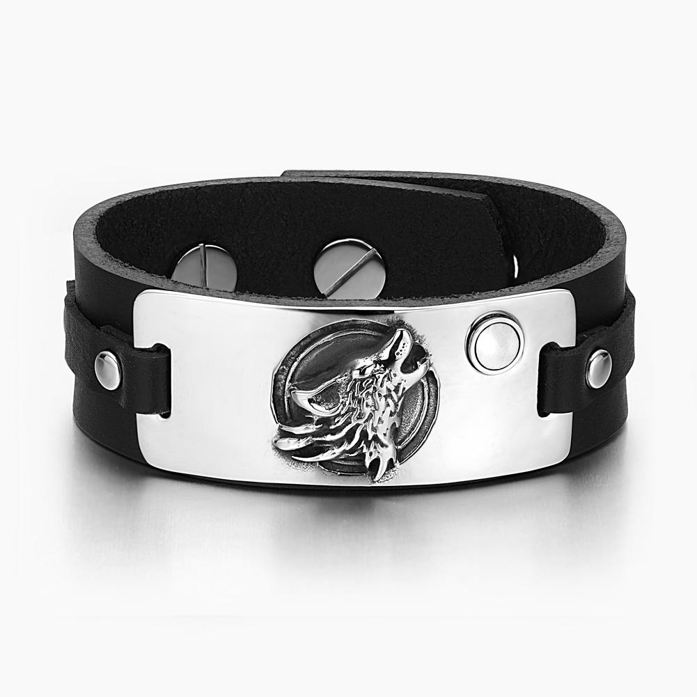Howling Wolf Wild Moon Courage Amulet Tag White Simulated Cats Eye Black Leather Bracelet