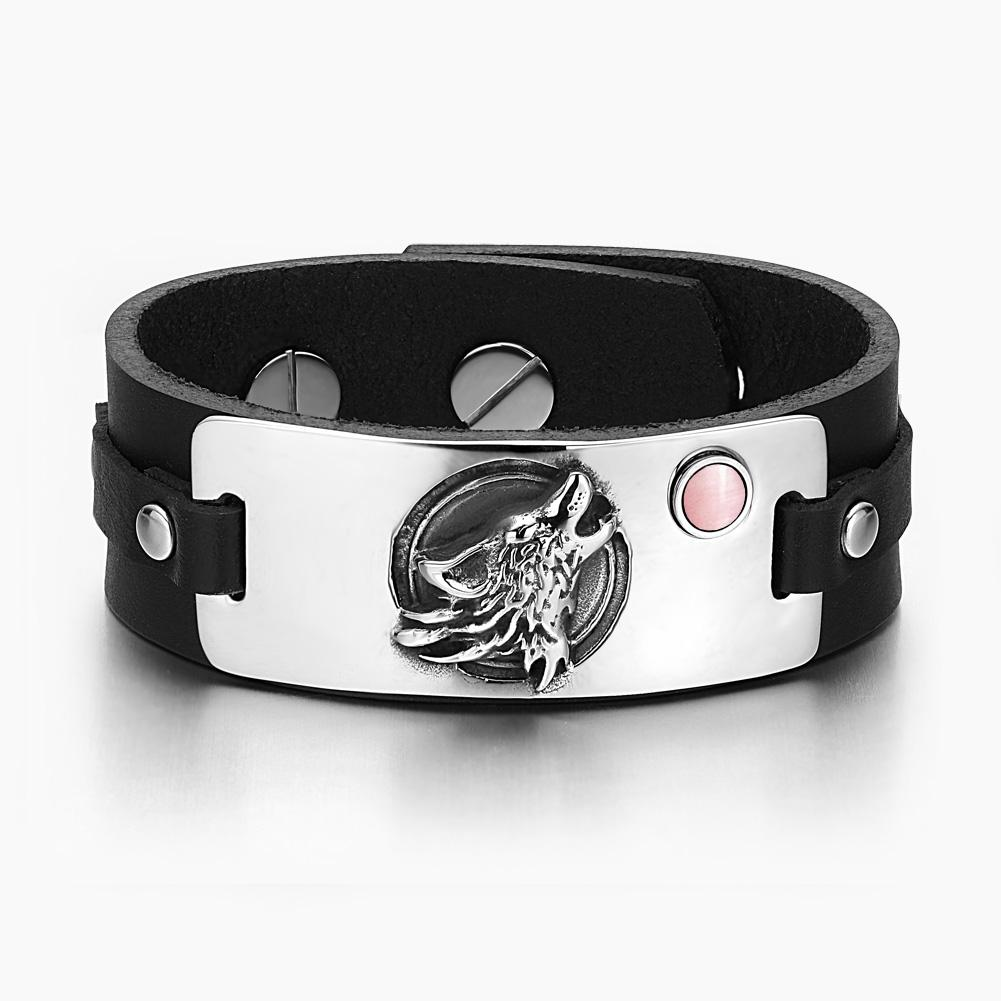 Howling Wolf Wild Moon Courage Amulet Tag Pink Simulated Cats Eye Adjustable Black Leather Bracelet
