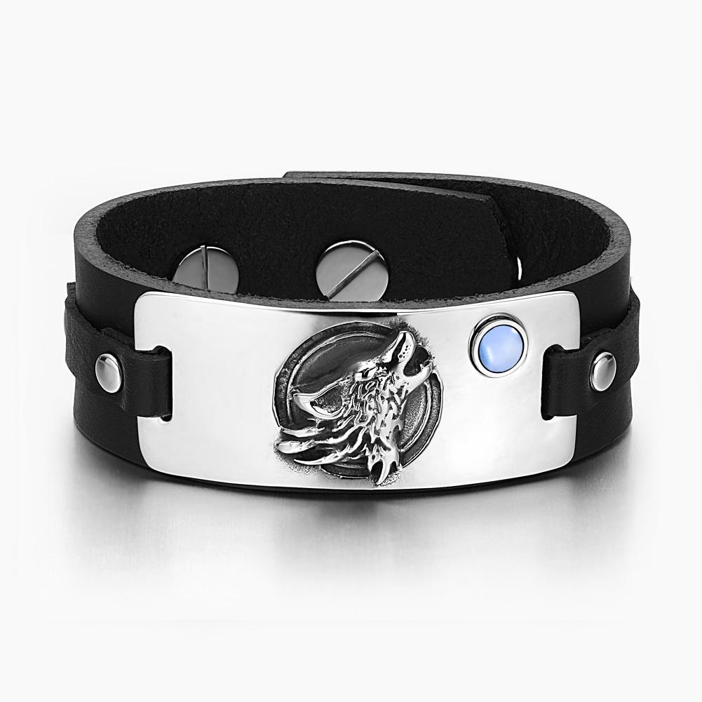 Howling Wolf Wild Moon Courage Amulet Tag Blue Simulated Cats Eye Adjustable Black Leather Bracelet