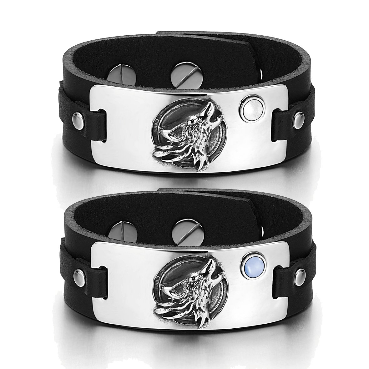 Howling Wolf Wild Moon Courage Amulets Love Couples White Blue Simulated Cats Eye Black Bracelets