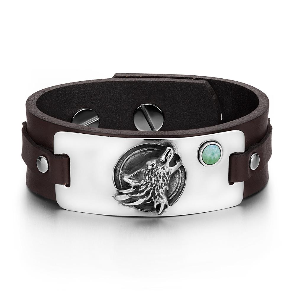 Howling Wolf Wild Moon Courage Amulet Tag Green Quartz Gemstone Dark Brown Leather Bracelet