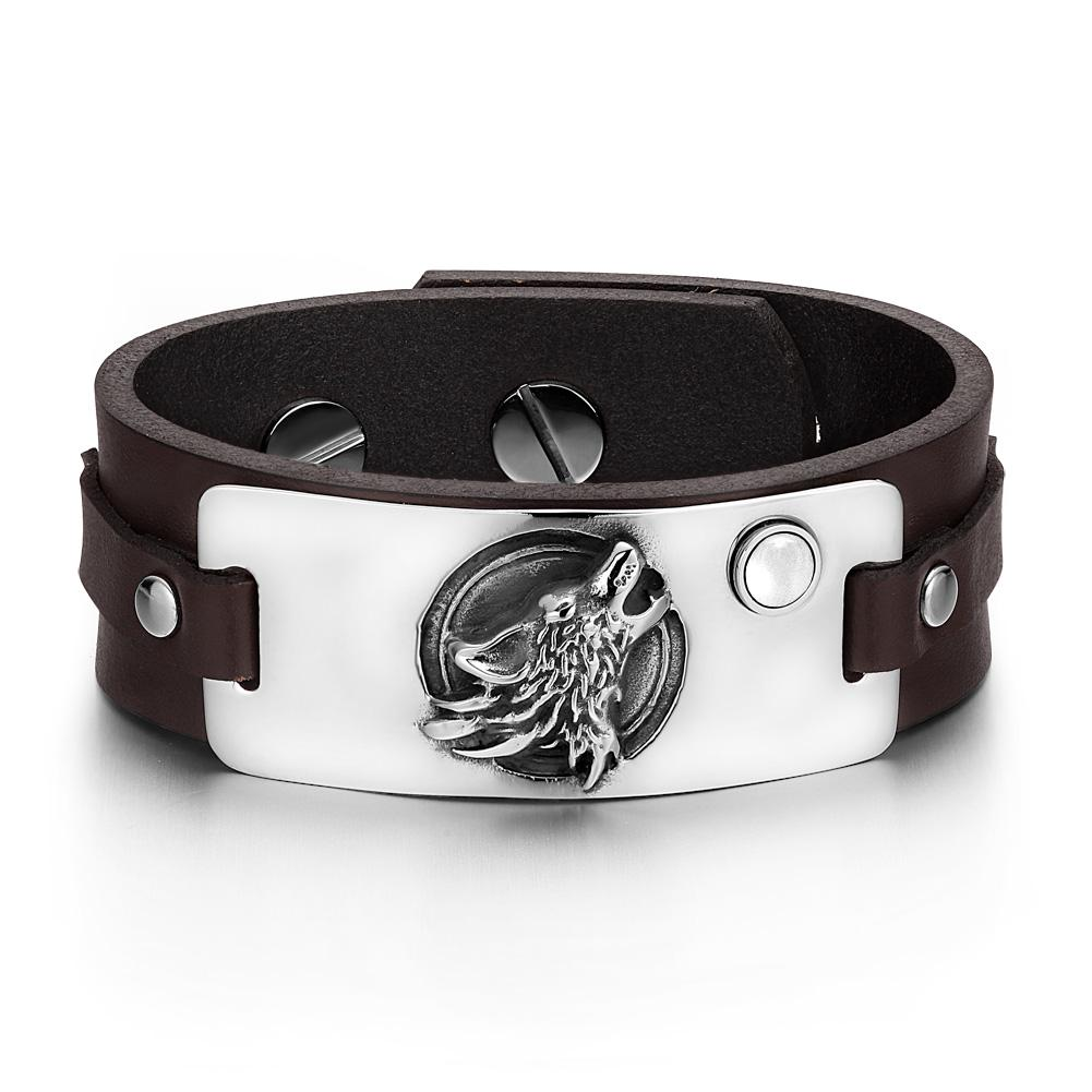 Howling Wolf Wild Moon Courage Amulet Tag White Simulated Cats Eye Dark Brown Leather Bracelet