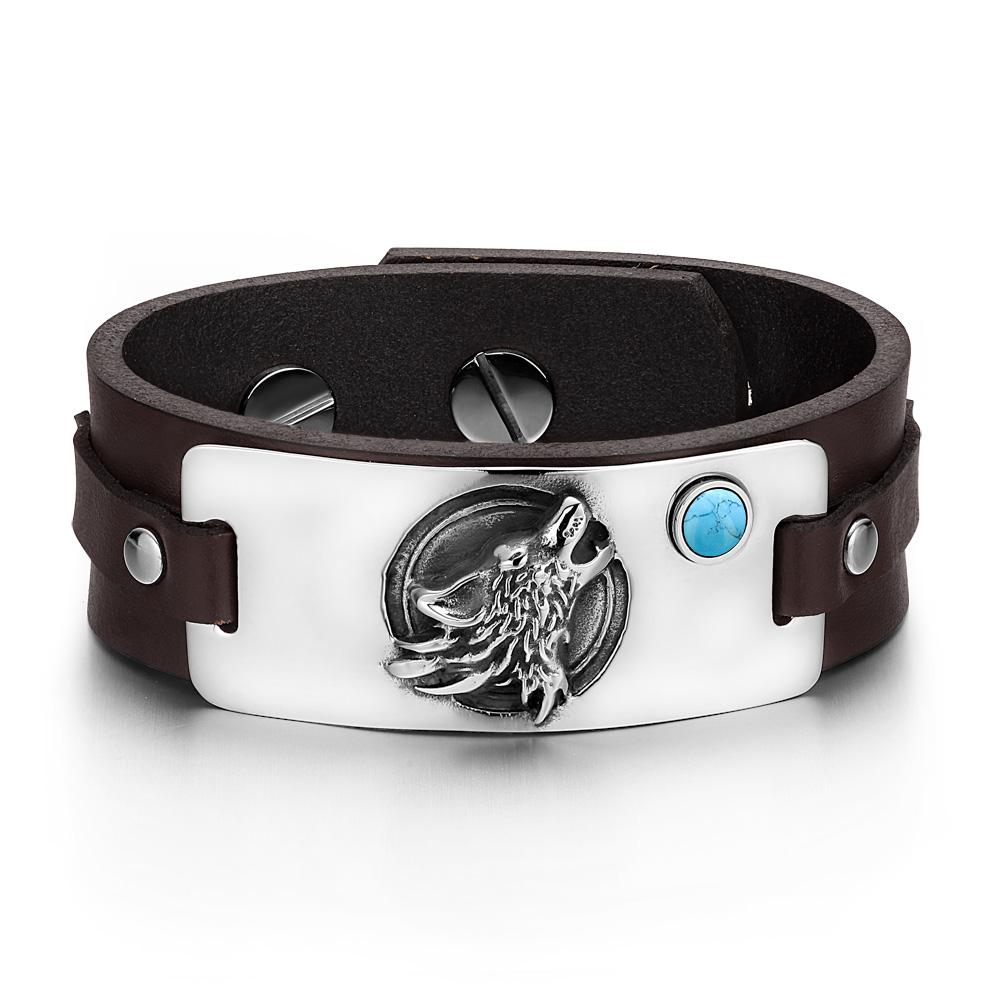 Howling Wolf Wild Moon Courage Amulet Tag Simulated Turquoise Dark Brown Leather Bracelet