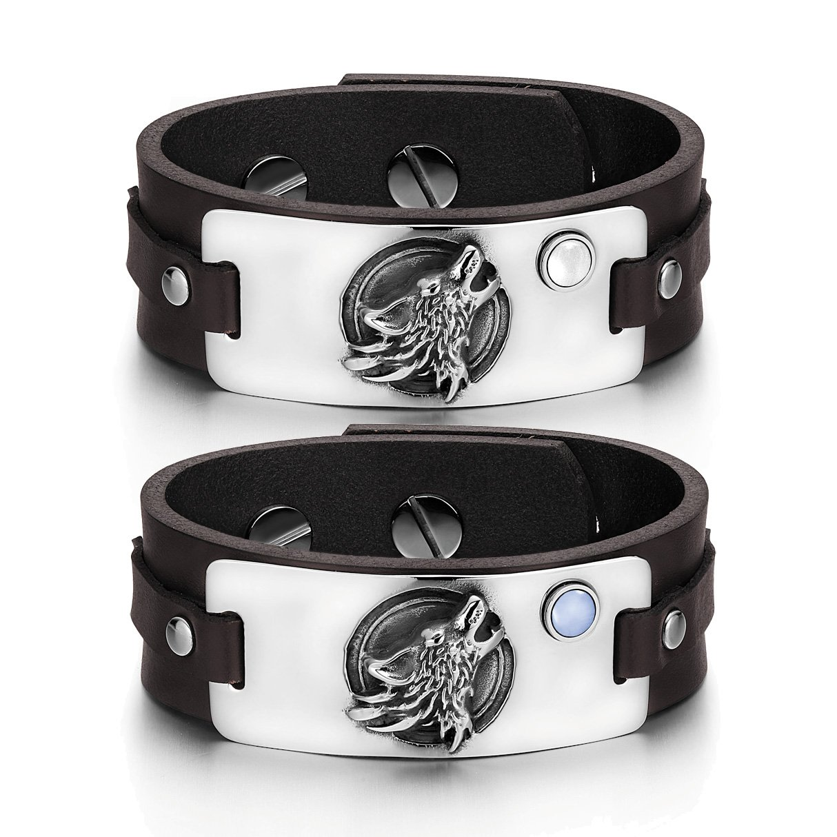 Howling Wolf Wild Moon Courage Amulets Love Couples White Blue Simulated Cats Eye Brown Bracelets