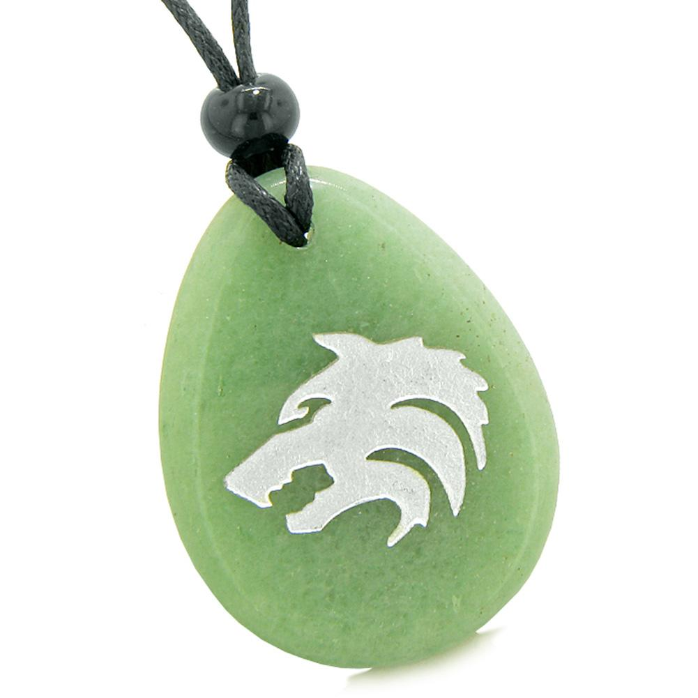 Amulet Brave Howling Wolf Head Spiritual Protection Powers Green Quartz Wish Stone Totem Pendant Necklace
