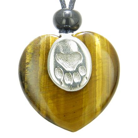 Lucky Wolf Paw Charm Puffy Heart Amulet Tiger Eye Gemstone Crystal Pendant Necklace