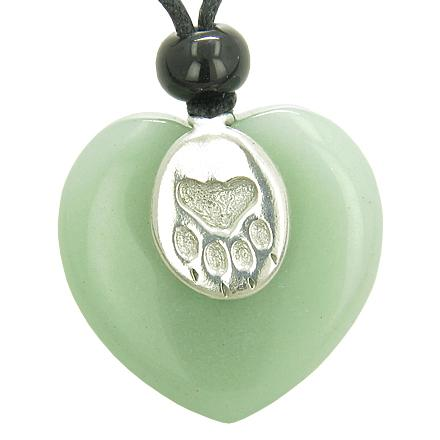 Lucky Wolf Paw Charm Puffy Heart Amulet Green Aventurine Gemstone Crystal Pendant Necklace