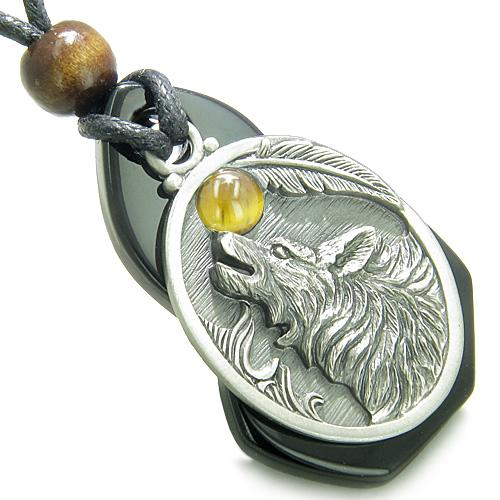 Amulet Howling Wolf Onyx Unique Gemstone Centerpiece Tiger Eye CabochSpiritual Pendant Necklace