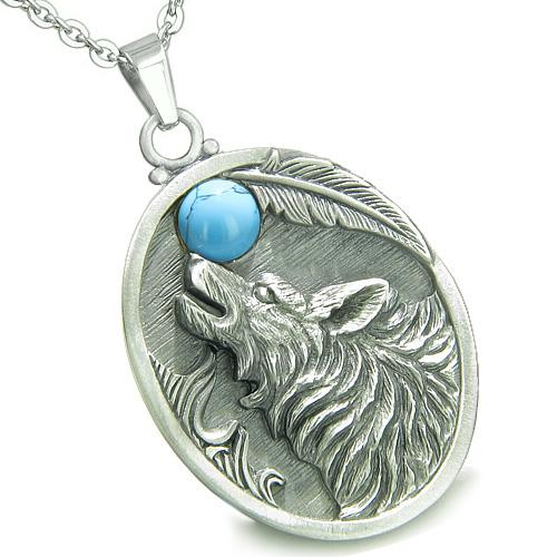 Amulet Howling Wolf Turquoise Moon Gemstone Oval Shape Fine Pewter Lucky Charm Pendant Necklace