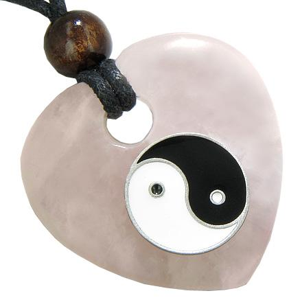 Heart Love Talisman Lucky Ying Yang Rose Quartz Gem Necklace