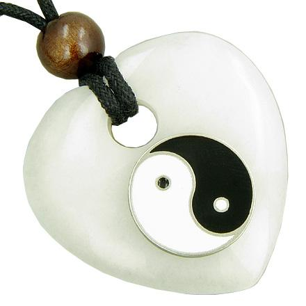 Heart Protection Talisman Lucky Ying Yang White Jade Necklace