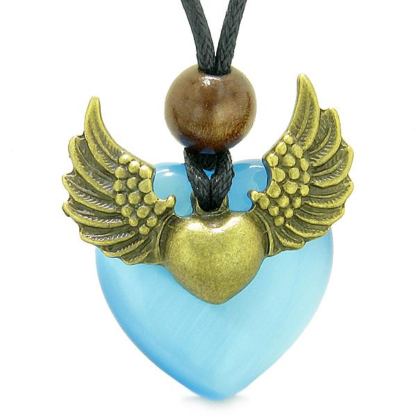 Angel Wings Double Lucky Heart Donut Amulet Magic Powers Blue Simulated Cats Eye Pendant Necklace