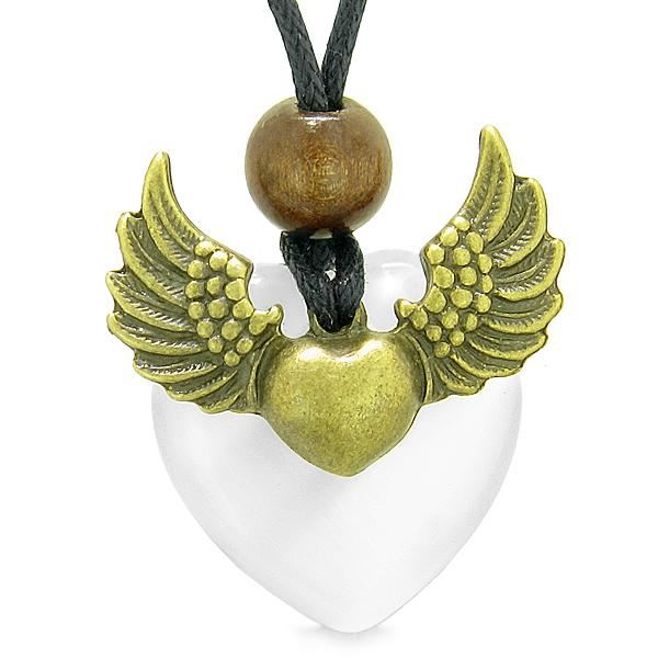 Angel Wings Double Lucky Heart Donut Amulet Magic Powers White Simulated Cats Eye Pendant Necklace