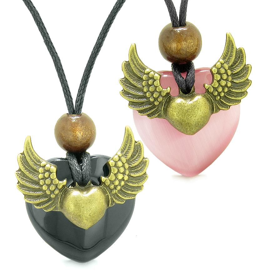 Angel Wings Love Couple Best Friends Heart Yin Yang Amulet Agate Pink Simulated Cats Eye Necklaces