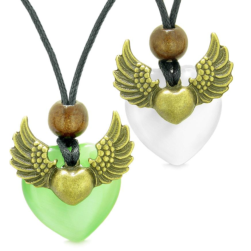 Angel Wings Love Couple Best Friends Heart Yin Yang Amulet Green White Simulated Cats Eye Necklaces