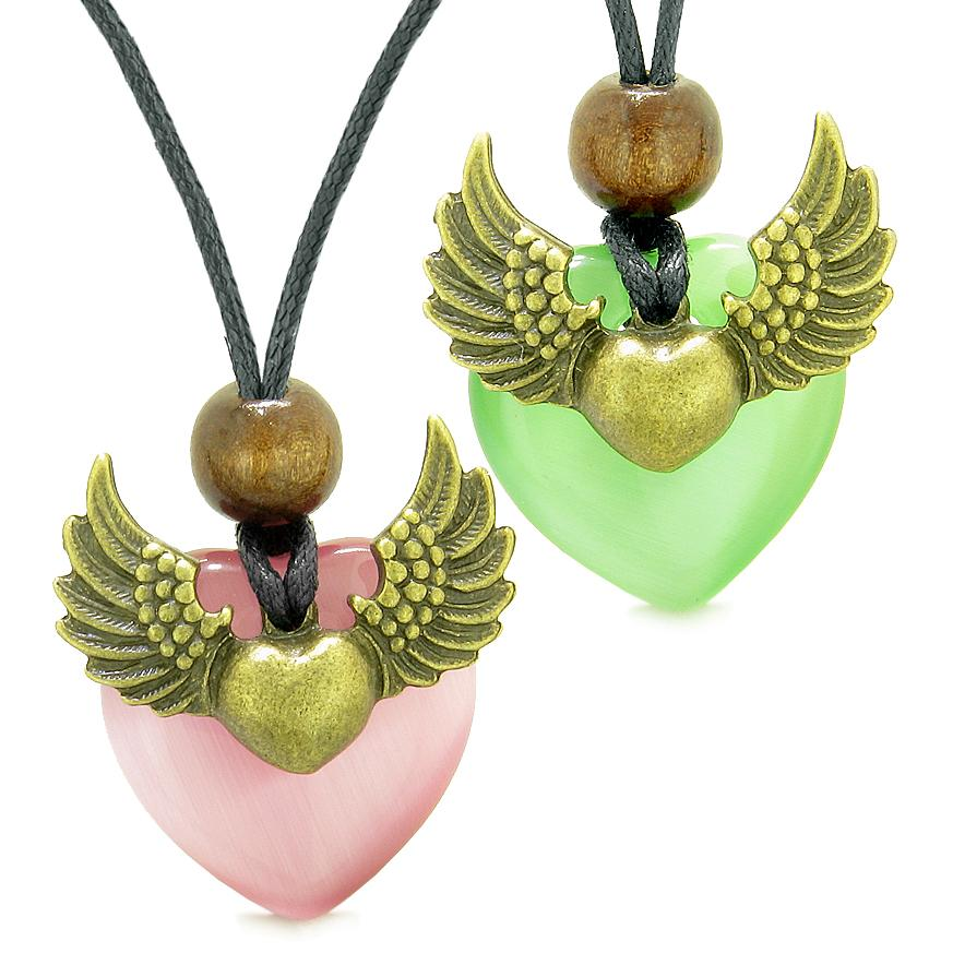 Angel Wings Love Couple Best Friends Heart Yin Yang Amulets Pink Green Simulated Cats Eye Necklaces