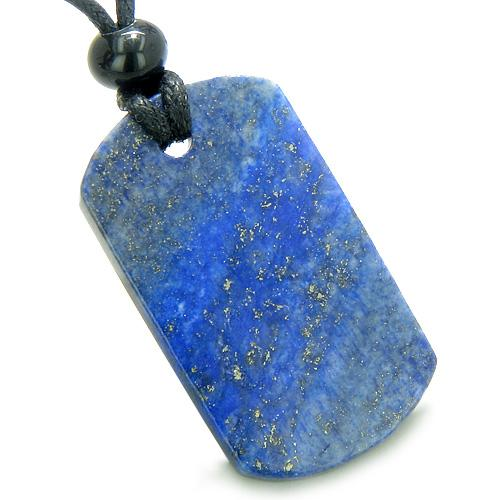 Lapis Lazuli Dog Tag Magic Powers Lucky Charm Amulet Gemstone Pendant on Adjustable Cord Necklace