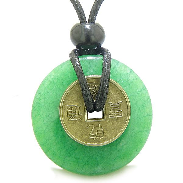 Antique Lucky Coin Evil Eye Protection Powers Amulet Dyed Green Jade 30mm Donut Pendant Necklace