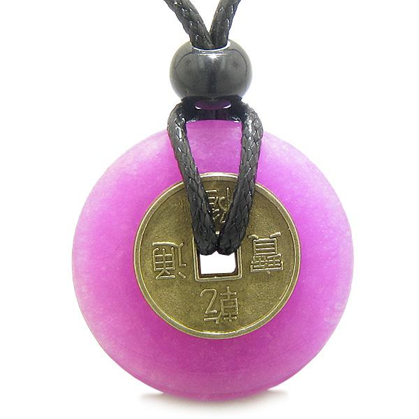 Antique Lucky Coin Evil Eye Protection Powers Amulet Hot Pink New Jade 30mm Donut Pendant Necklace