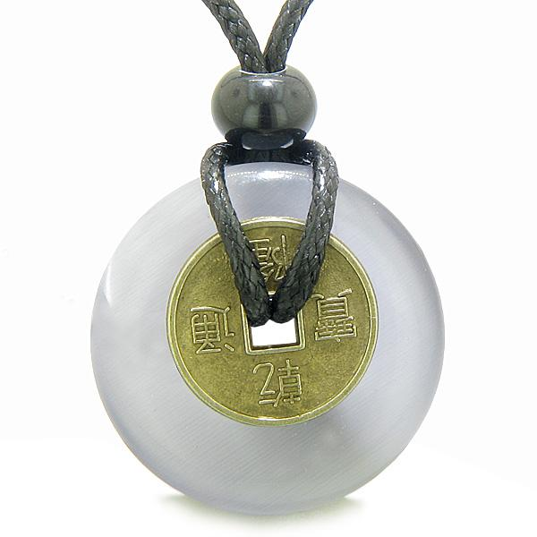 Antique Lucky Coin Magic Powers Amulet Light Purple Cat's Eye Crystal 30mm Donut Pendant Necklace