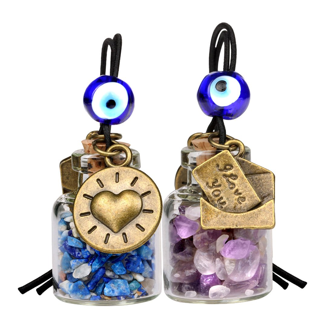 I Love You Envelope Heart Sun Small Car Charms Home Decor Gem Bottles Amethyst Lapis Lazuli Amulets