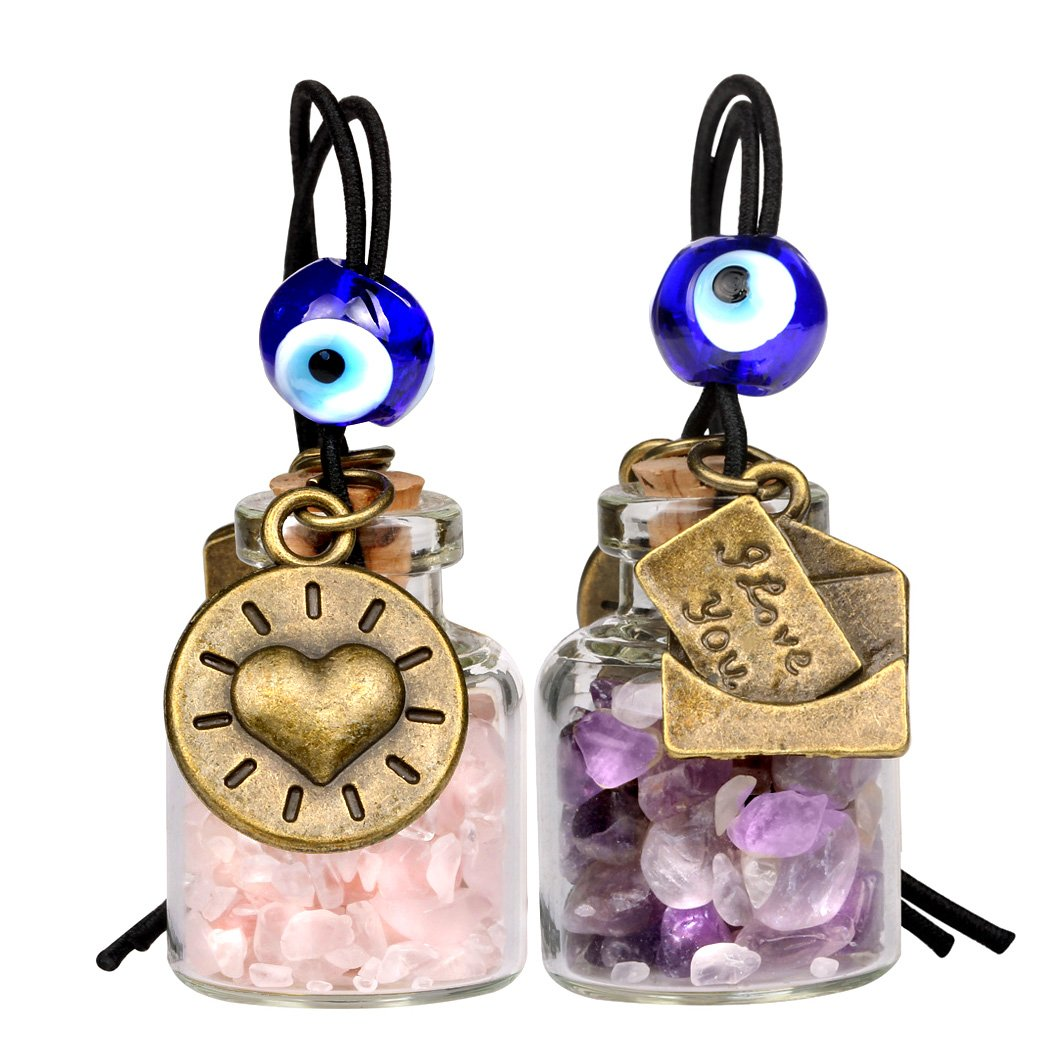 I Love You Envelope Heart Sun Small Car Charms or Home Decor Bottles Amethyst Rose Quartz Amulets