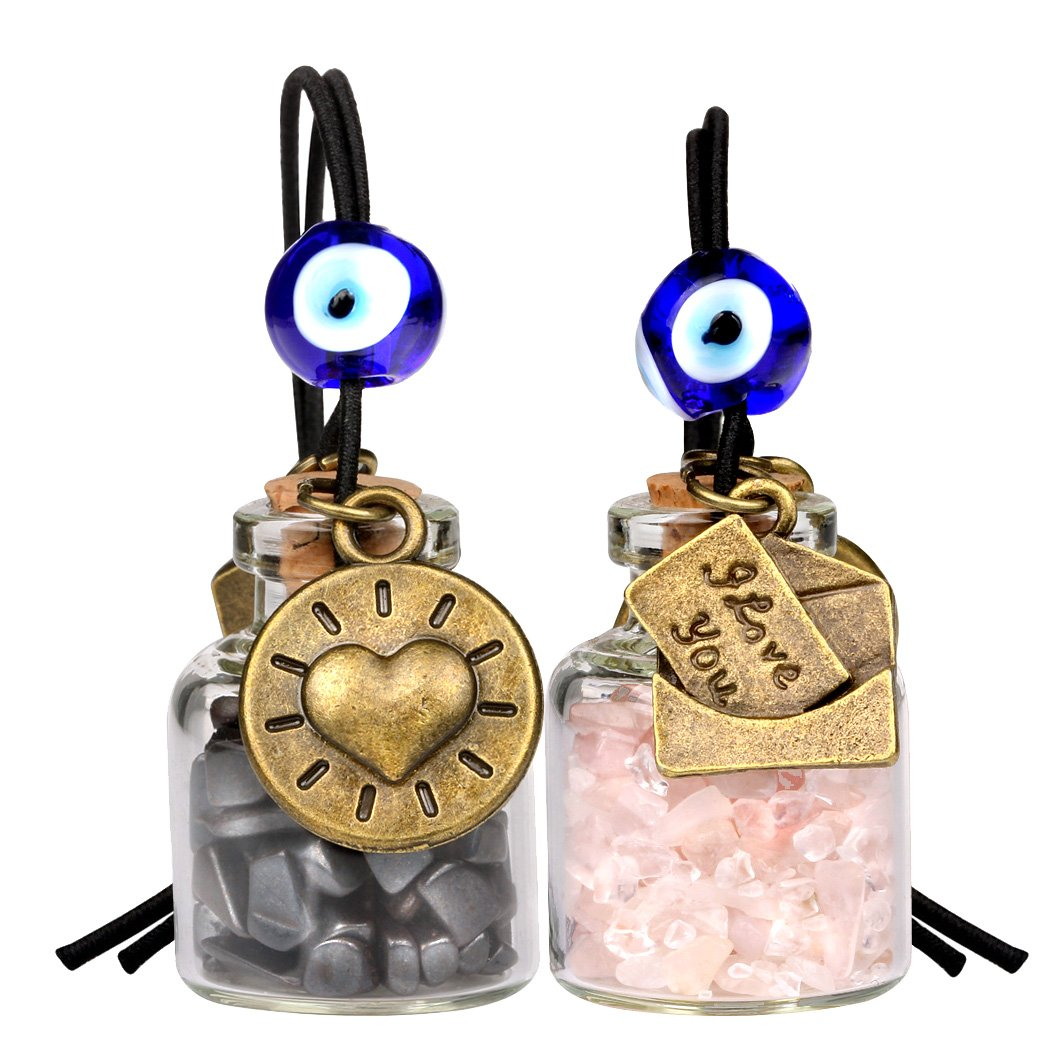 I Love You Envelope Heart Sun Small Car Charms or Home Decor Bottles Hematite Rose Quartz Amulets