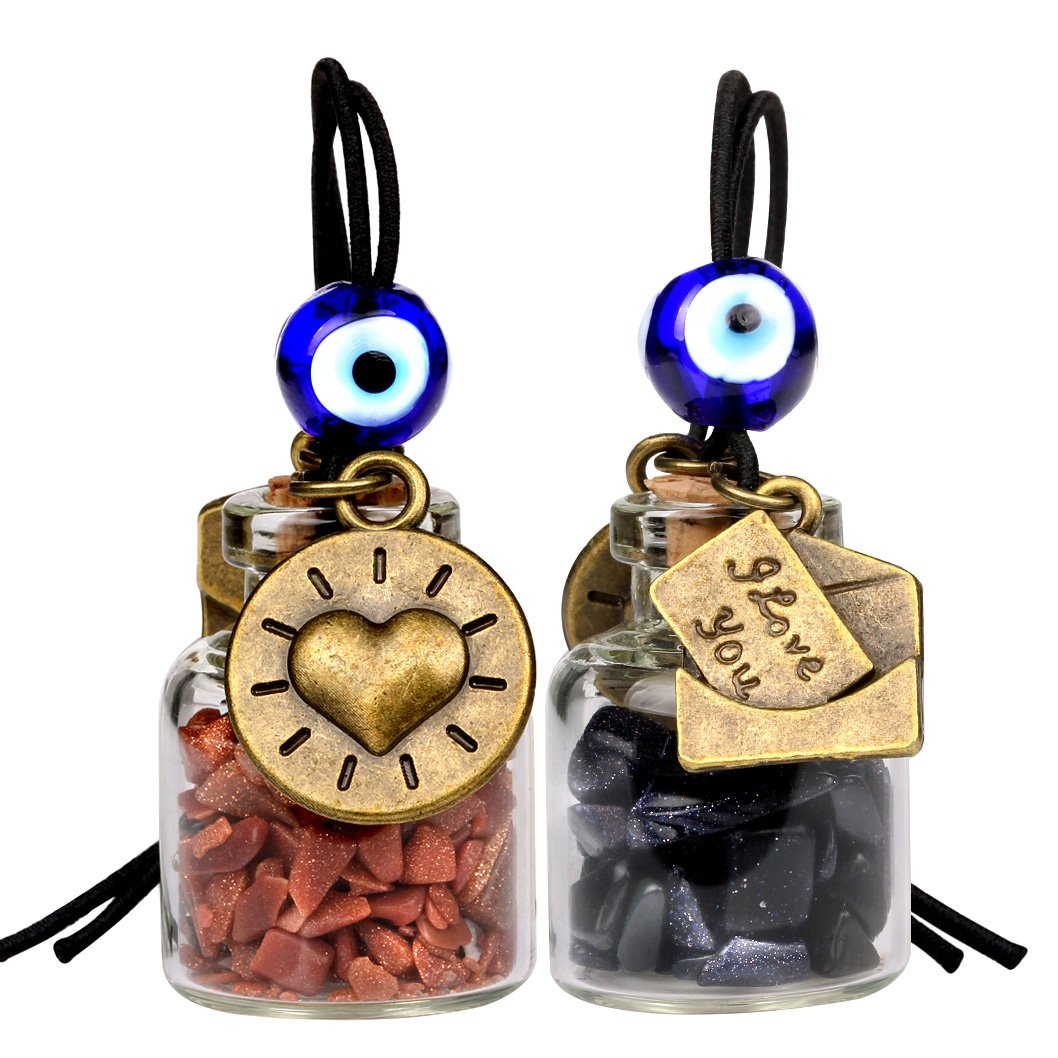 I Love You Envelope Heart Sun Small Car Charms or Home Decor Gem Bottles Blue Red Goldstone Amulets