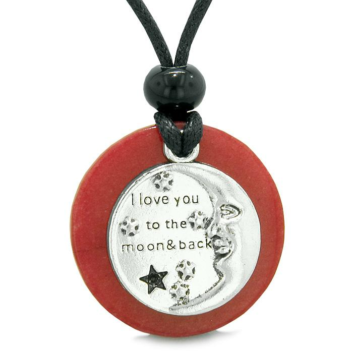 I Love You to the Moon and Back Magic Good Luck Medallion Amulet Cherry Red Quartz Necklace