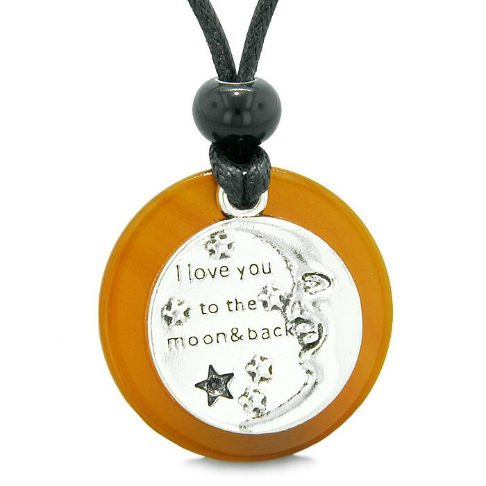 I Love You to the Moon and Back Magic Good Luck Medallion Amulet Carnelian Adjustable Necklace
