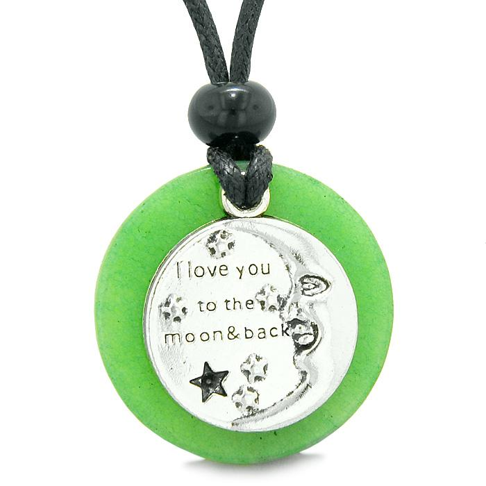 I Love You to the Moon and Back Magic Good Luck Medallion Amulet Green Quartz Adjustable Necklace