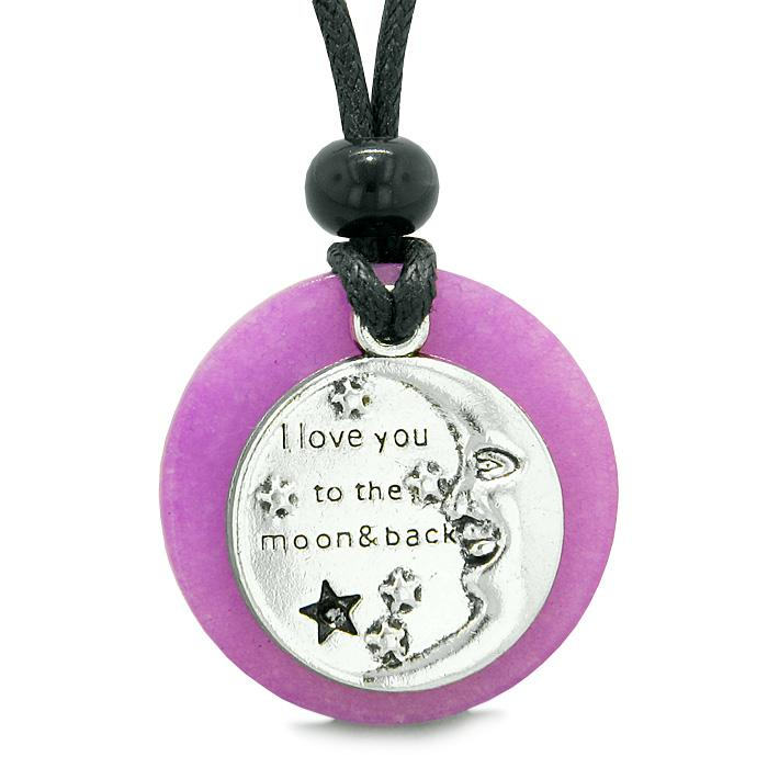 I Love You to the Moon and Back Magic Good Luck Medallion Amulet Purple Quartz Adjustable Necklace