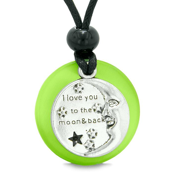 I Love You to the Moon and Back Magic Good Luck Medallion Amulet Green Simulated Cats Eye Necklace