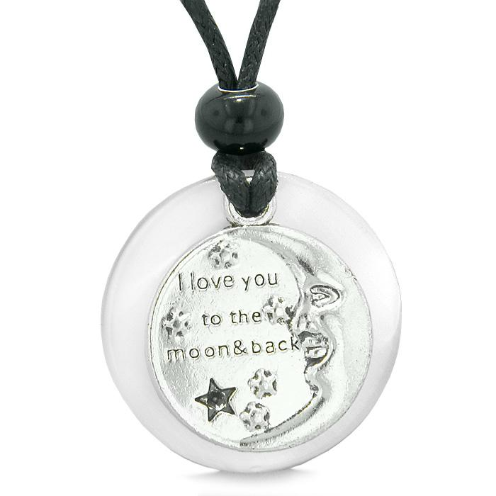 I Love You to the Moon and Back Magic Good Luck Medallion Amulet White Simulated Cats Eye Necklace