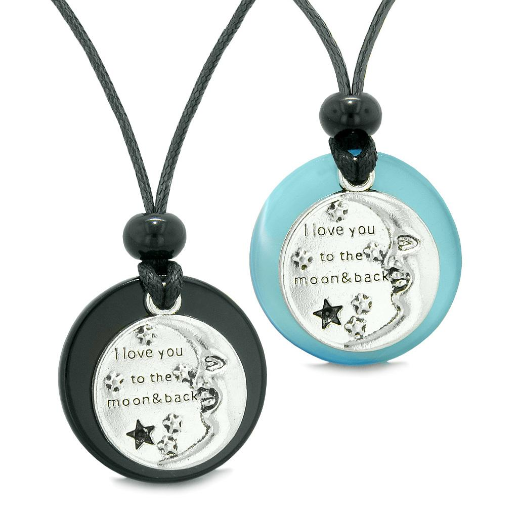 I Love You to the Moon and Back Couples Best Friends Amulets Agate Blue Simulated Cat Eye Necklaces