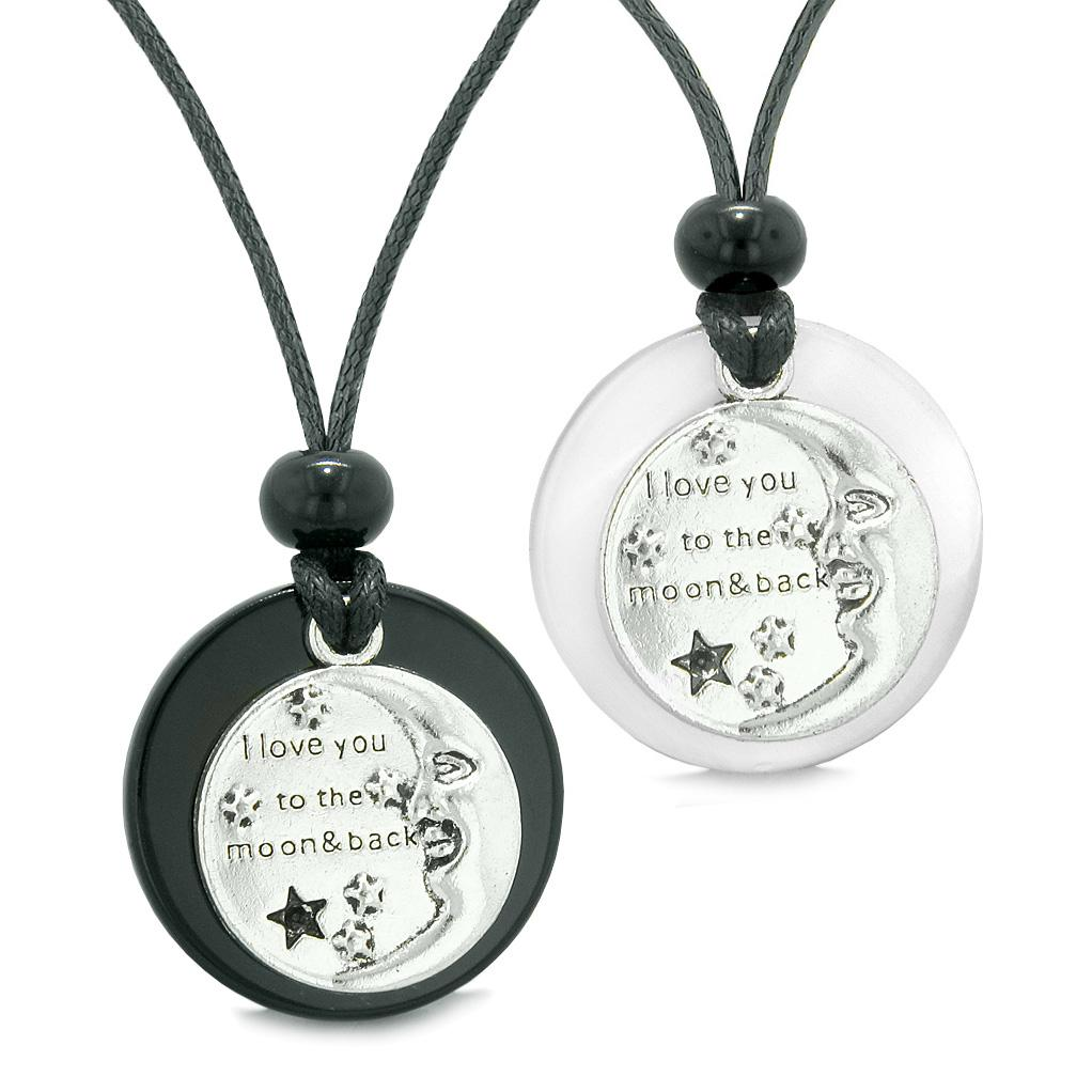 I Love You to the Moon and Back Couples Best Friends Amulet Agate White Simulated Cat Eye Necklaces