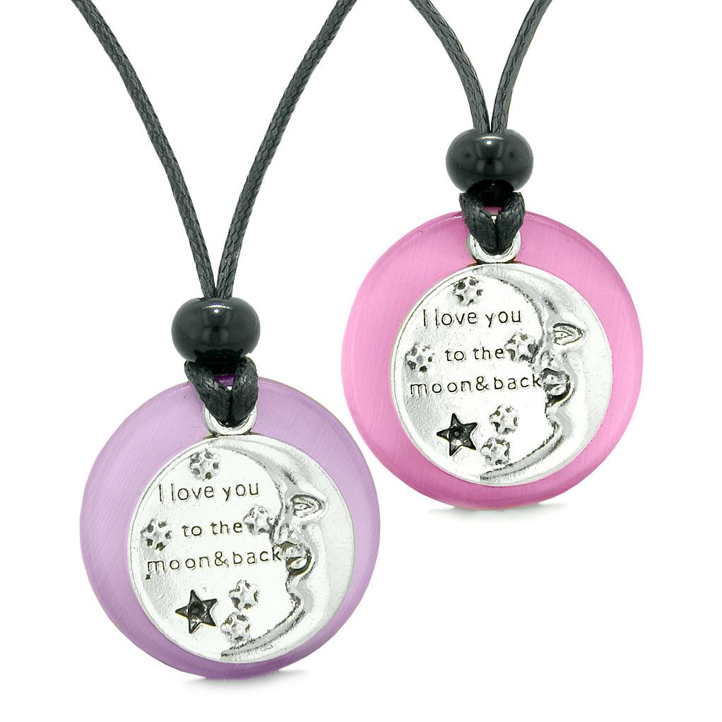I Love You to the Moon and Back Couples Best Friend Amulets Purple Pink Simulated Cat Eye Necklaces