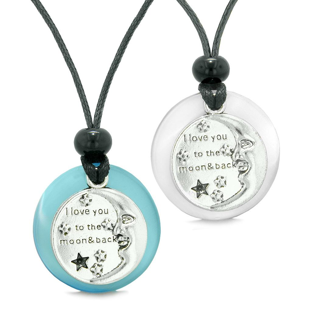 I Love You to the Moon and Back Couples Best Friends Amulets Blue White Simulated Cat Eye Necklaces