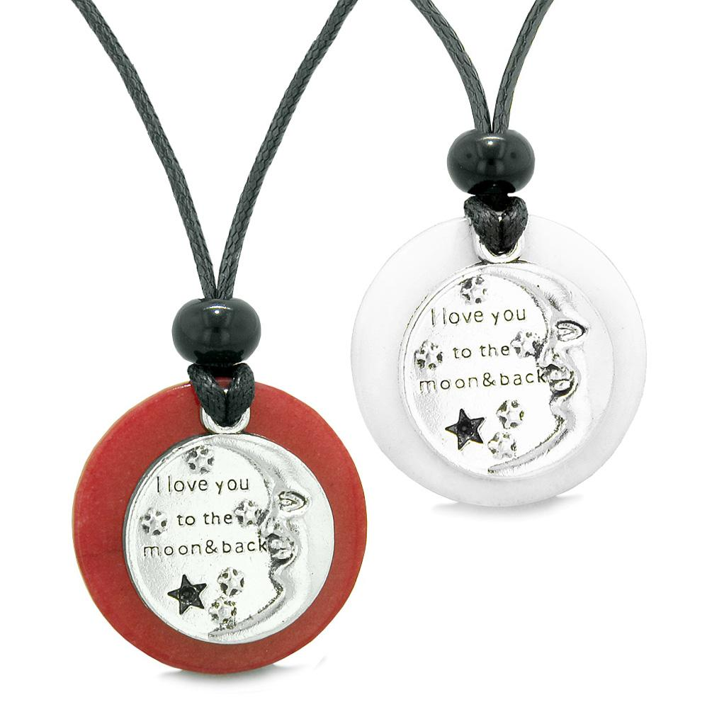 I Love You to the Moon and Back Couples Best Friends Medallions Amulets Red White Quartz Necklaces