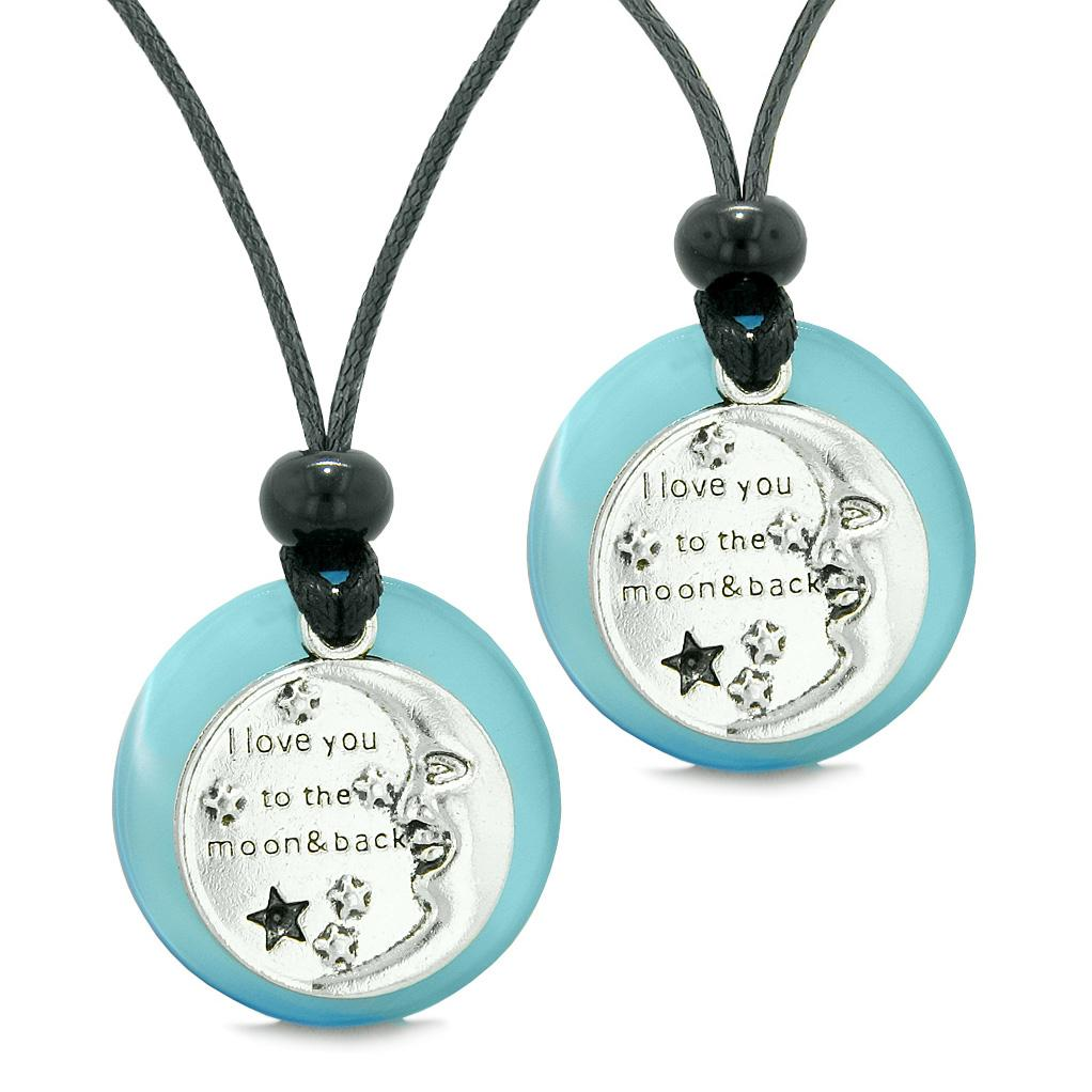 I Love You to the Moon and Back Couples Best Friends Amulets Sky Blue Simulated Cats Eye Necklaces