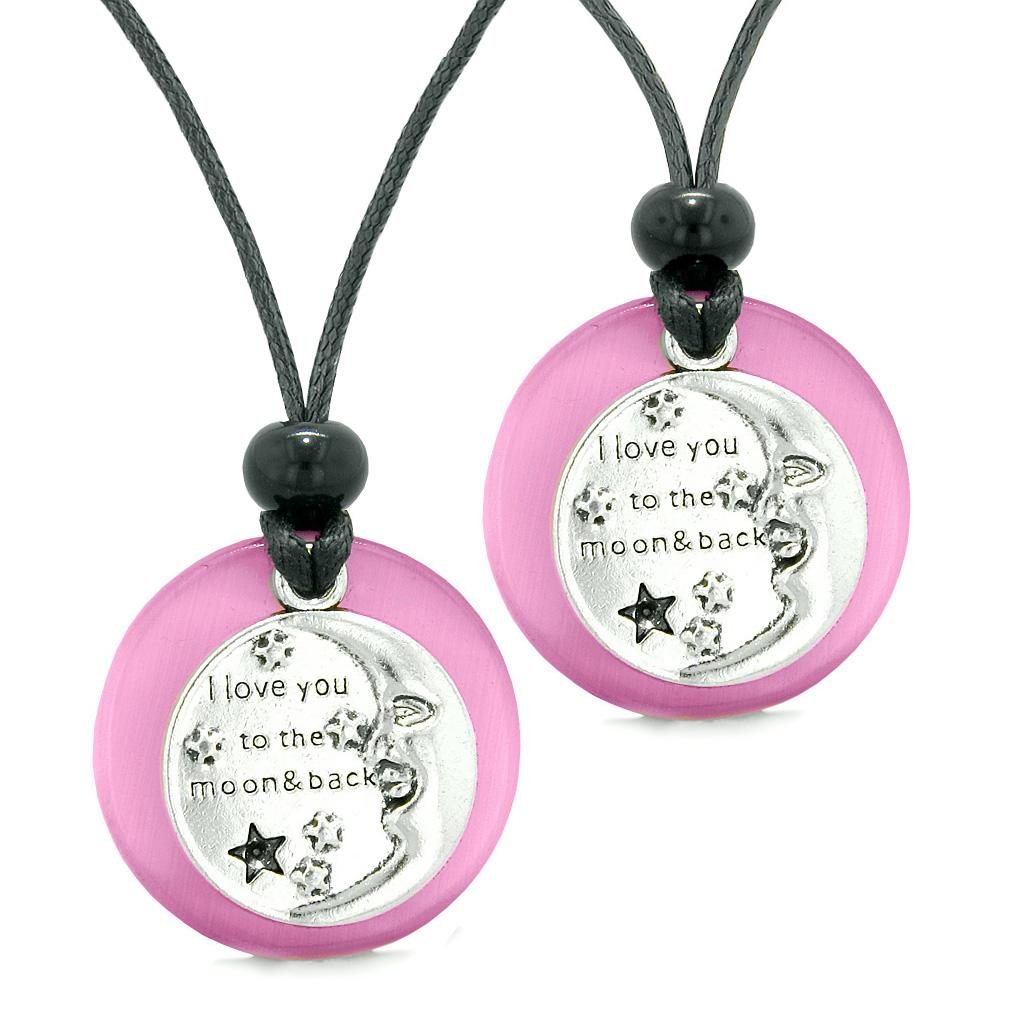 I Love You to the Moon and Back Couples Best Friends Amulets Pink Simulated Cats Eye Necklaces