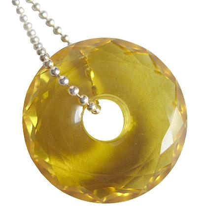 Business Attractor Talisman Faceted Citrine Donut With Chain