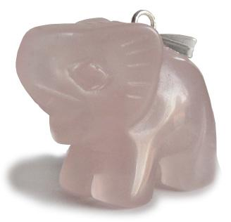 Good Luck Elephant Pendant In Rose Quartz