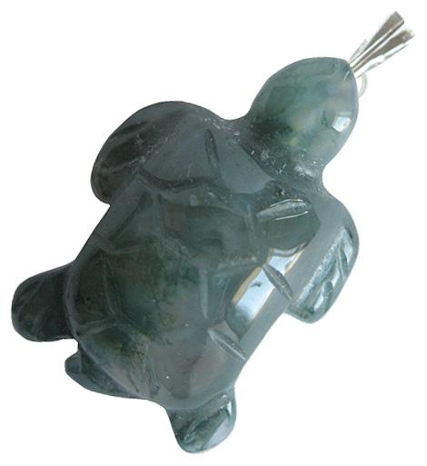 Good Luck Turtle Pendant In Green Moss Agate