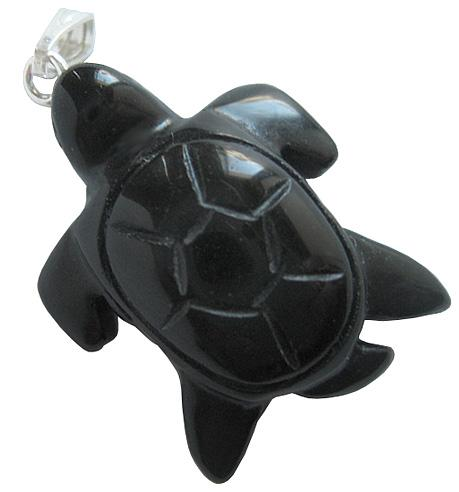 Good Luck Turtle Pendant In Black Onyx
