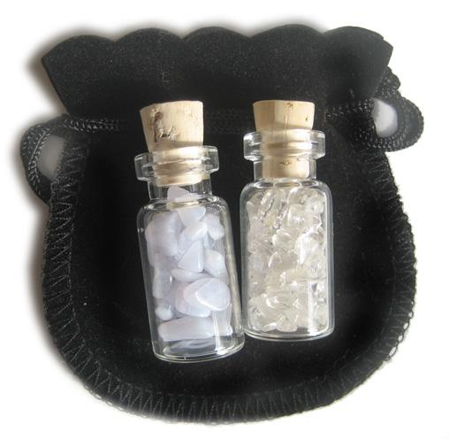 Agate Blue Lace Good Luck Talisman Bottles