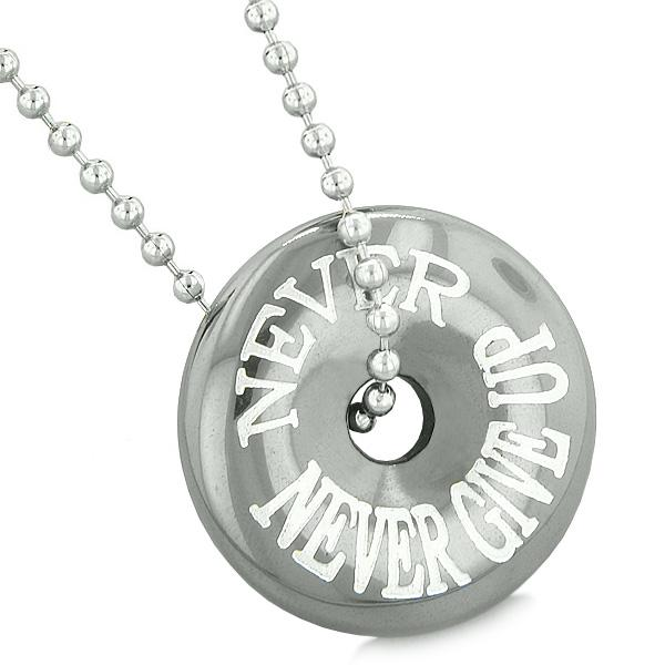 Inspirational Never Never Give Up Amulet Magic Coin Lucky Charm Donut Hematite Pendant Necklace