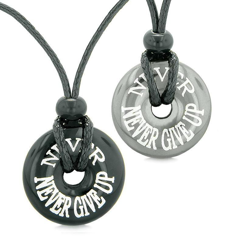 Amulets Never Never Give Up Love Couples or Best Friends Donuts Hematite and Black Agate Necklaces
